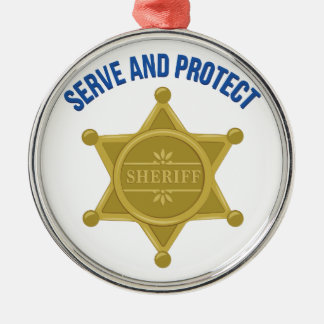 Serve And Protect Metal Ornament