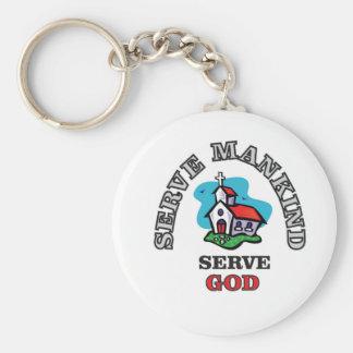 serve god church basic round button key ring