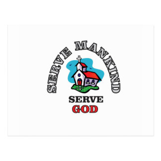 serve god church postcard