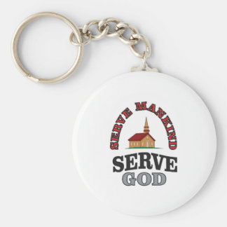 serve god serve mankind art basic round button key ring