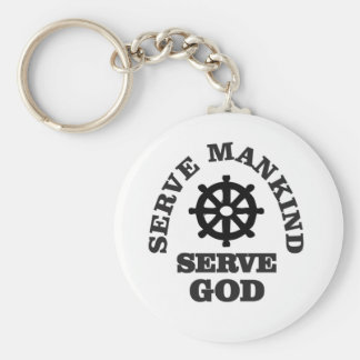 serve god serve mankind basic round button key ring
