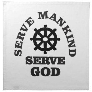 serve god serve mankind napkin