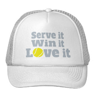 Serve it, win it, love it tennis ball graphic hat