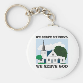 serve mankind serve god love basic round button key ring