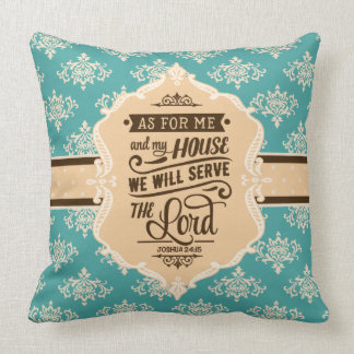 Serve the Lord Monogram Pillow - Turquoise & Brown