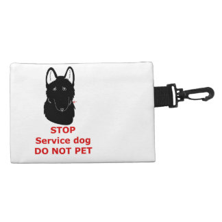 Service dog clip on W text Accessory Bag