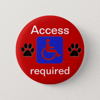 service dog handicapped symbol access required 6 cm round badge