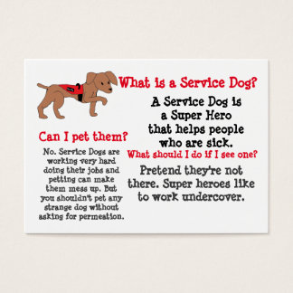 Service Dog Information for Kids Business Card