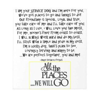 Service dog poem FNL BACK yellow Notepad