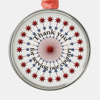Service to America Thanks, Red White & Blue Stars Metal Ornament
