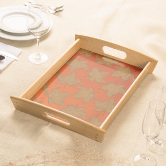 Service tray Jimette Design maple leaves orange