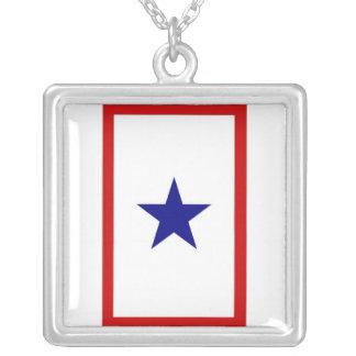 Serviceman Banner Square Pendant Necklace