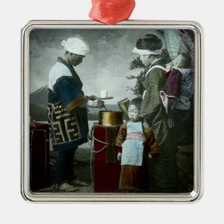 Serving Sweet Wine Amazake Vintage Old Japan Silver-Colored Square Decoration