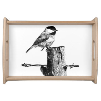Serving Tray Featuring a Chickadee Illustration