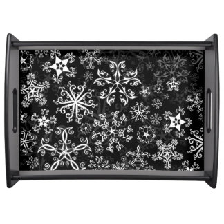 Serving Tray Holiday Symbols in Snowflakes