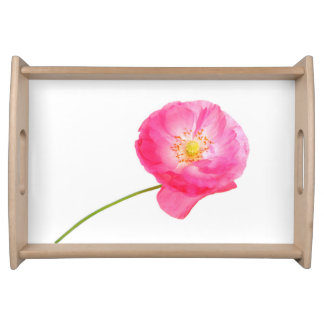 serving  tray pink poppy with stem