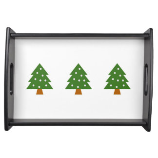 Serving Tray with Christmas Tree with Snow