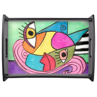 Serving Tray with Colorful Picasso Inspired Art