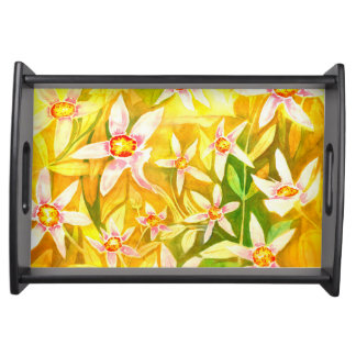 Serving Tray with Lily Watercolour