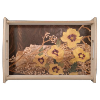 Serving Tray  Yellow Flowers with a Log