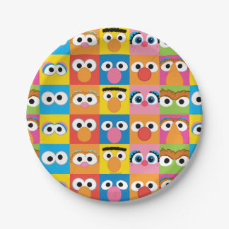 Sesame Street Character Eyes Pattern 7 Inch Paper Plate