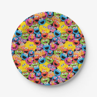 Sesame Street Character Faces Pattern 7 Inch Paper Plate