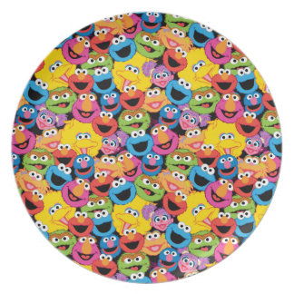 Sesame Street Character Faces Pattern Plates
