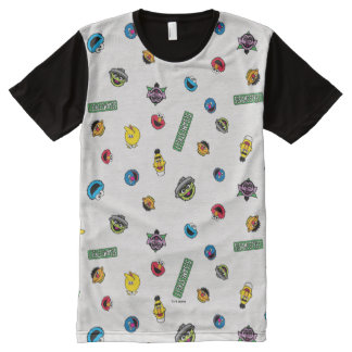 Sesame Street Character Pattern All-Over Print T-Shirt