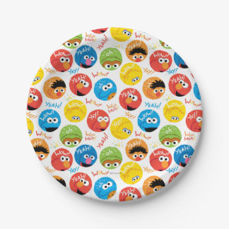 Sesame Street Circle Character Pattern 7 Inch Paper Plate