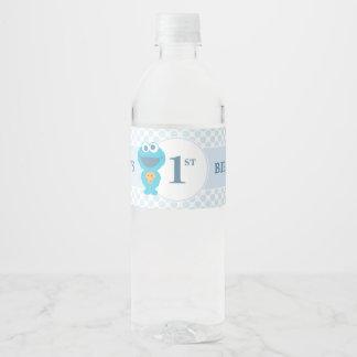 Sesame Street | Cookie Monster Baby Birthday Water Bottle Label