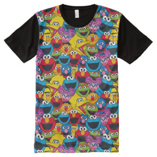 Sesame Street Crew Pattern All-Over Print T-Shirt