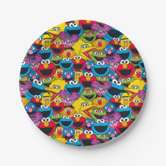 Sesame Street Crew Pattern Paper Plate