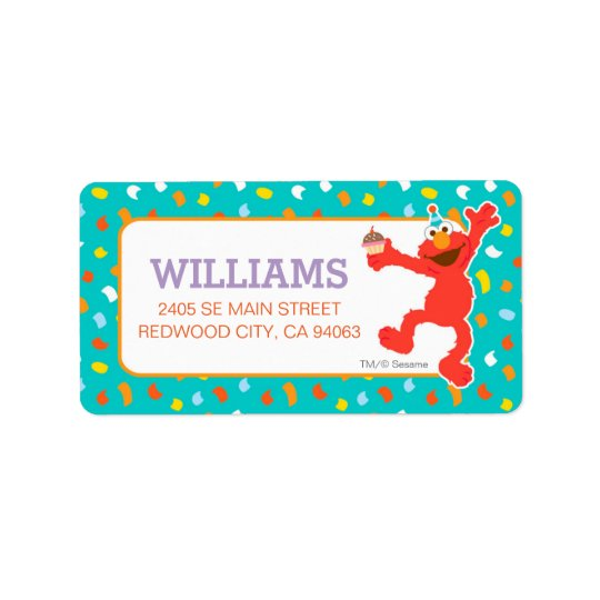 Sesame Street | Elmo - Cupcake & Confetti Birthday Address Label