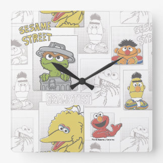 Sesame StreetVintage Comic Pattern Square Wall Clock