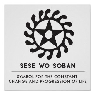 Sese Wo Soban Life Changes Symbol Black Poster