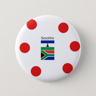 Sesotho Language And Lesotho/South Africa Flags 6 Cm Round Badge