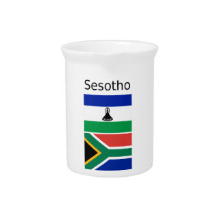 Sesotho Language And Lesotho/South Africa Flags Pitcher
