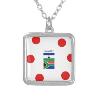 Sesotho Language And Lesotho/South Africa Flags Silver Plated Necklace