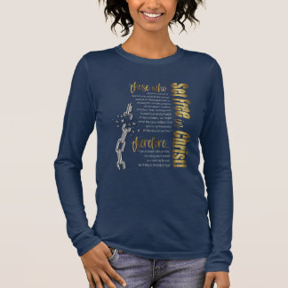 """""""Set Free in Christ"""" Long Sleeve Tee (Navy/Gold)"""
