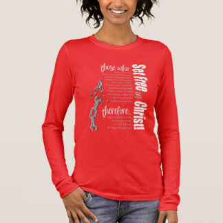"""""""Set Free in Christ"""" Long Sleeve Tee (Red/White)"""
