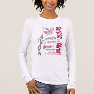 """""""Set Free in Christ"""" Long Sleeve Tee (White/Pink)"""