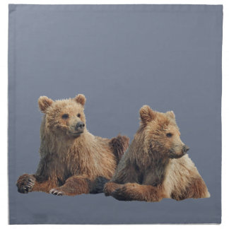 set of 4 cloth napkins w/ grizzly bear cubs