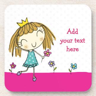 ♥ SET OF 6 COASTERS ♥ cute princess pink polka dot