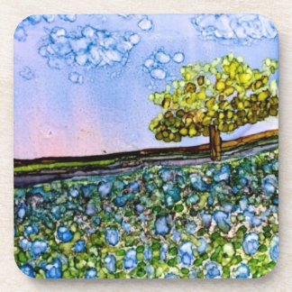 Set of 6 Coasters - Texas Bluebonnets Alcohol Ink