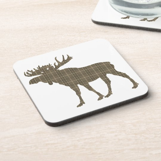 Set Of 6  Drink Coasters plaid moose