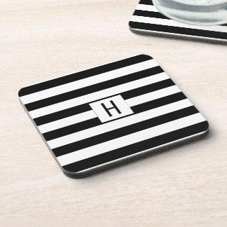 Set of 6 Stylish Black and White Stripe Monogram Beverage Coasters