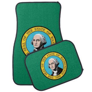 Set of car mats with Flag of Washington, USA