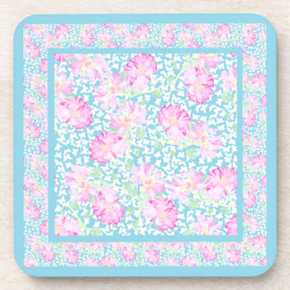 Set of Cork Coasters: Pink Roses White Butterflies