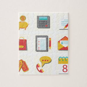 set of flat icons jigsaw puzzle