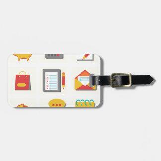 set of flat icons luggage tag